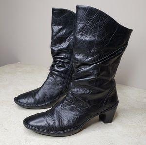 Josef Seibel Mid Calf Zip Leather Boots Size 39